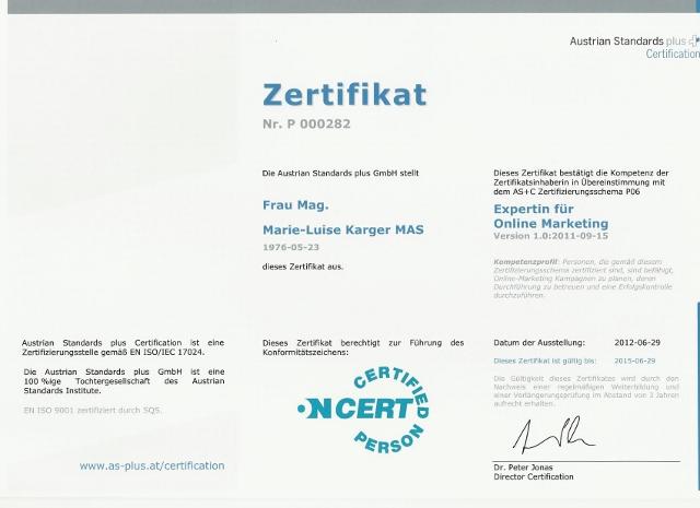 Zertifikat Experte für Online Marketing